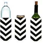 Tall Can/Bottle Koozie Chevron Blk