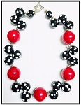 Large Red Pearl-Black Polka Dot
