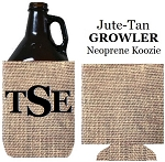 Growler Jute Tan Neoprene Koozie