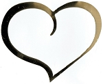 Vinyl Decal  Gold Mirror Heart Curve