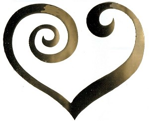 Vinyl Decal  Gold Mirror Heart Swirl