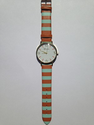 Teal and Orange Striped Watch