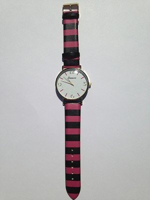 Hot Pink and Black Striped Watch