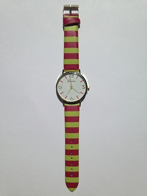 Hot Pink and Lime Striped Watch