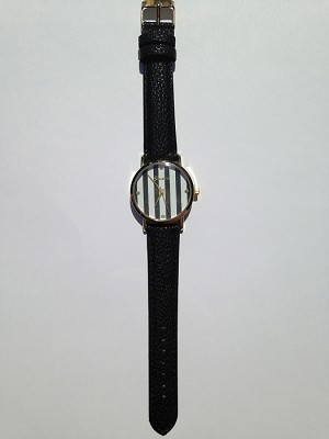 Black Leather Stripe Watch