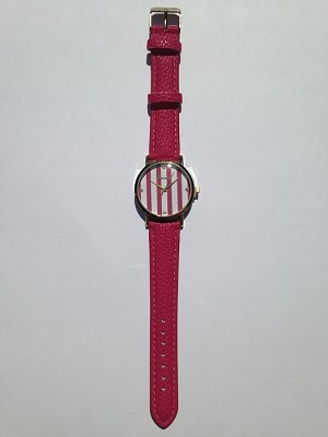 Hot Pink Leather Stripe Watch