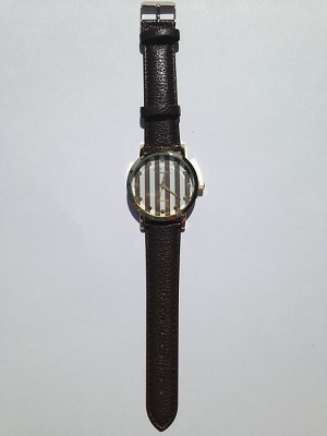 Brown Leather Stripe Watch