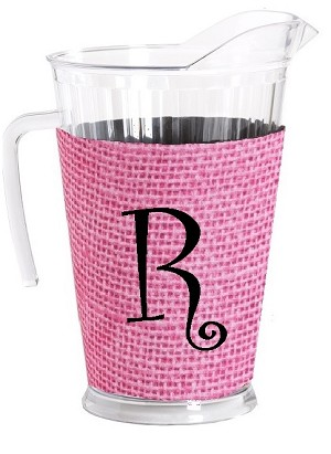 Acrylic Pitcher with SLEEVE Faux Jute Pink