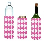 Tall Can/Bottle Koozie Harlequin Pink