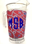 Acrylic Pitcher with SLEEVE Anchor Pearls Red