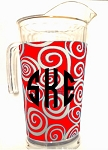 Acrylic Pitcher with SLEEVE Swirl Red
